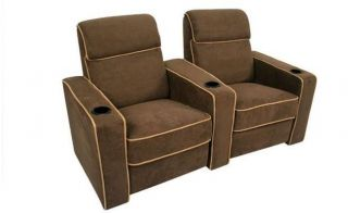 Lorenzo Home Theater Seating Brown Recliners 2 Chairs