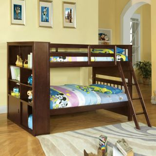 Youth Kids Espresso Wood Twin Over Twin Bunk Bed w Built in Bookcase Cabinets