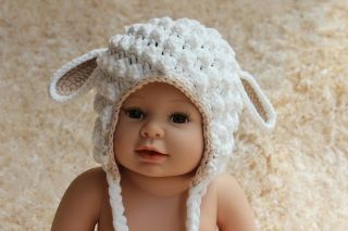 New Cute Handmade Cotton Lamb Sheep Baby Child Knit Hat Cap 9M 2Year Photo Prop