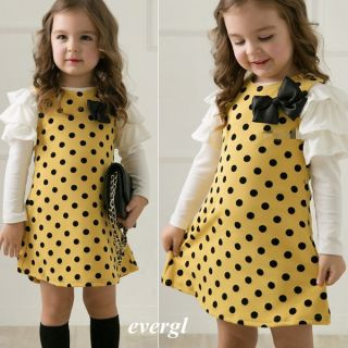 2013 Winer Casual Style Girls Polka Dot Princess Long Sleeve Dress 2 7Y Clothes