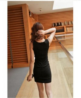 New Womens Korea Fashion OL Splice Color Round Neck Sleeveless Mini Dress E777