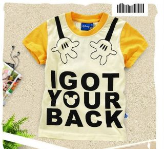 2012 New Baby Boys Girls Mickey Mouse Short Sleeve Funny Tee T Shirts 2 8years