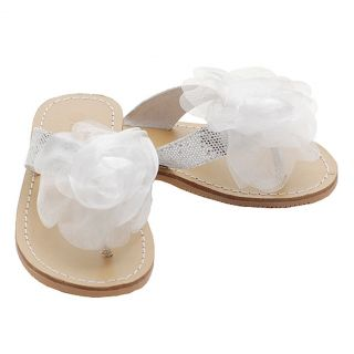 Toddler Girls Size 7 Silver Flower Flip Flop Spring Sandals Shoes