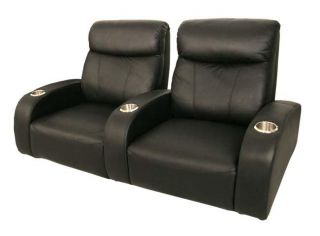 Rialto Home Theater Seating 2 Front Row Seats Black Leather Chairs
