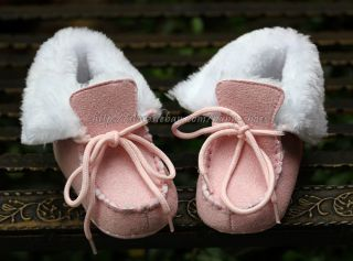 Baby Girl Pink Faux Fur Lined Boots Crib Lace Up Shoes Size Newborn to 18 Months
