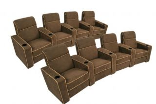 Lorenzo Home Theater Seating Brown Recliners 8 Chairs
