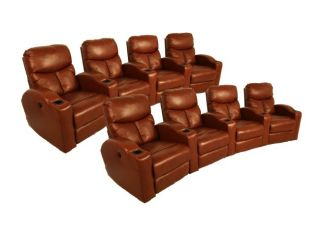 Klaussner Lunar Home Theater Seating 8 Saddle Brown Recliners Power Chairs