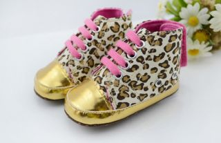 1pair Baby Girl Boy Unisex Infant Crib Shoes Prewalker Sneakers Gold Leopard