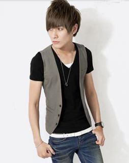Spring Summer Men's Fashion Leisure Korea Style Slim Fit Elegant Leisure Vest