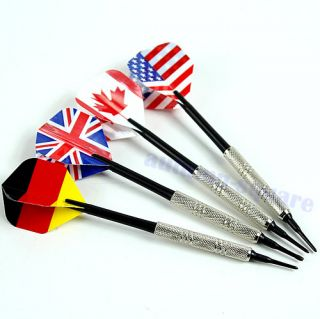 4pcs Dart Brass Soft Tip Bar Darts with Nice National Flags Flights Throwing Toy