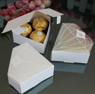 Promotion Luxury Diamond Shaped Wedding Gift Candy Boxes Wedding Party Favors