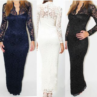Formal Party Long Maxi Dress Full Lace Prom Gown Ball Evening Cocktail Size8 12