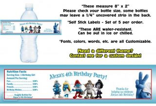 Smurfs Smurfette Printed Water Bottle Labels Birthday Party Favors Supplies