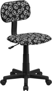New Armless Black White Hippie Peace Sign Home Office Desk Dorm Room Task Chairs