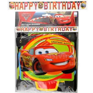 Authentic Disney Pixar Cars Lightning McQueen Happy Birthday Banner Kids Party