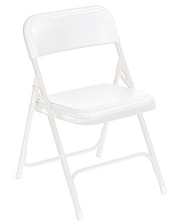 Premium Lightweight Plastic Folding Portable Double Hinged Chair White 4 Pack