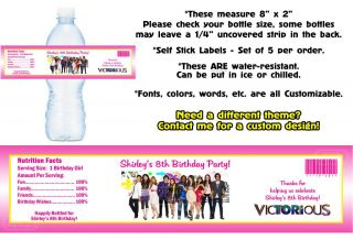 Victorious Printed Water Bottle Labels Birthday Party Favors Supplies