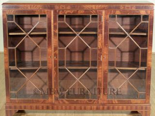 Antique Flame Mahogany Chippendale 3 Door Bookcase Display Cabinet c1940's P61