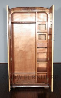 Antique English Bird's Eye View Maple Art Deco Armoire Wardrobe c1930 P48C
