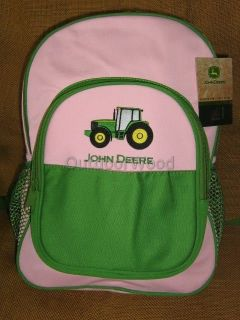 john deere girls pink green backpack new with tags