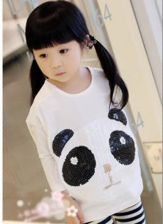 Cute Panda Pattern Toddler Girls Over Hip Kids T Shirt Batwing Coat Top 6 7Years