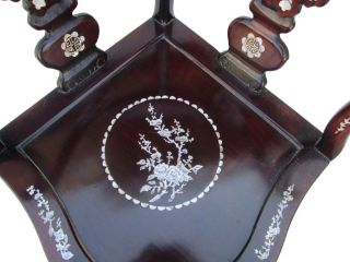 Chinese Date Red Plum Flowers Motif Mother of Pearl Inlay Rosewood Chair F860