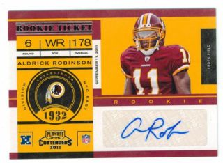 Aldrick Robinson 2011 Playoff Contenders 107 Autograph Auto RC Rookie