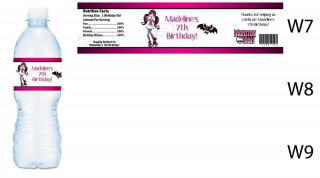 Monster High Printed Water Bottle Labels Birthday Party Favors Supplies