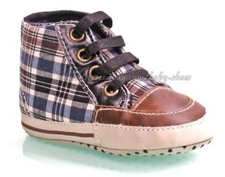 Baby Boys Plaid Walking Shoes Soft Sole Crib Sneakers Size 0 6 6 12 12 18 Months