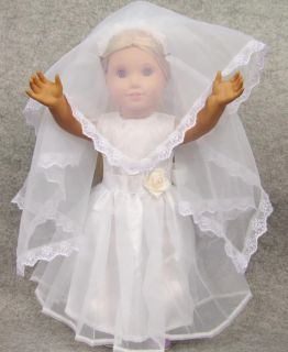 Lovely New Doll Clothes Fits 18'' American Girl Handmade Wedding Dress Gown B2