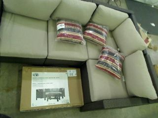 Hampton Bay Beverly 5 Piece Patio Sectional Seating Set with Beige Cushion