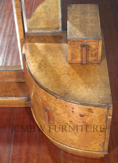 Antique Burl Walnut Art Deco Vanity Chest Dresser w Tri Fold Mirror c1930's P91B