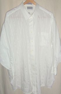 Christopher Hart Shirt White Big Tall 19 33 Woven Stripe Wrinkle Free