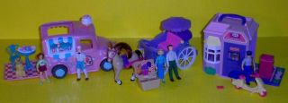 Fisher Price Sweet Streets 3 Playsets Ice Cream Truck Post Dolls Accessories