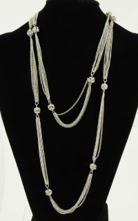 Silver Tone Clear Rhinestone Cluster Ball Multi Strand Curb Link Chain Necklace