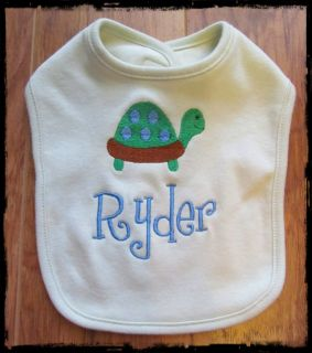 Personalized Monogram Custom Pink Blue White Green Baby Infant Bib Shower Gift