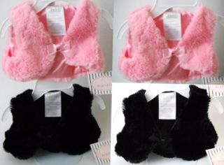 New Faux Fur Vest Baby Girl Newborn Pink or Black 0 6M Bow Tie Snap Satin Lined