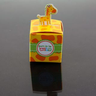 24 Giraffe Born to Be Wild Jungle Baby Shower Favor Boxes Party Decorations