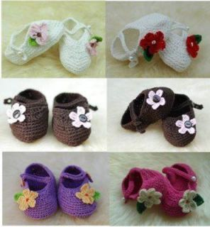 Lovely Hand Crocheted Baby Girl Shoes Delicate Flower