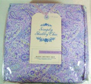 New Simply Shabby Chic King Duvet Cover Set Shams Lavender Paisley