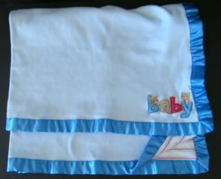 Carters Just One Year Blue Baby Striped Bears Blanket