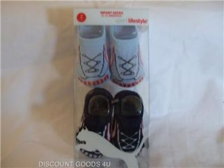 New 2 Pair Puma Baby Boy Crib Shoes Blue White Bootie Socks 0 12 Months