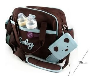 5pcs Carter's Baby Changing Diaper Nappy Bag Mummy Shoulder Handbag Blue Brown