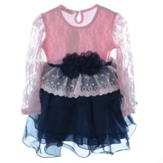 Girls Kids Princess One Piece Party Dress Clothes 2 7Y Lace Long Sleeve Flower