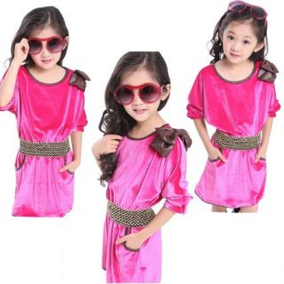Girls Kids Bat Sleeve Dress Wedding Waisted Skirt 4 10Y Party Bowknot Clothing
