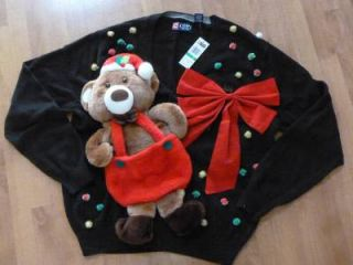 Men Women Ugly Christmas Sweater Contest Bear Bow Size Large Chaps Black 281