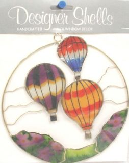 Handcrafted 5'' Hot Air Balloon Window Ornaments 4 Pack