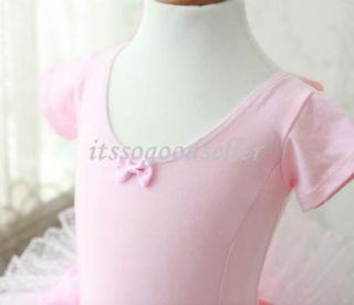 Girls Toddler Ballet Tutu Leotard Dress 3 8Y Short Sleeve Party Costume