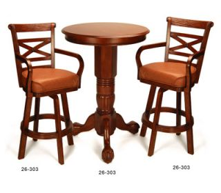 Pub Table Chair Bar Stool Set for Billiard Pool Room in Pecan New