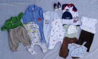 Newborn Infant Baby Boy Clothes Large Lot Carters SpaSilk Onesies Shoes Hat PJs